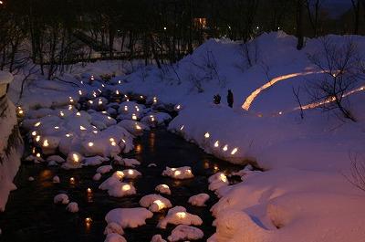雪あかり 朝里川