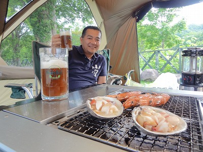 生ビール バーベキュー テント お客様