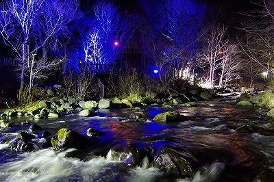 朝里川ライトアップ2014川辺